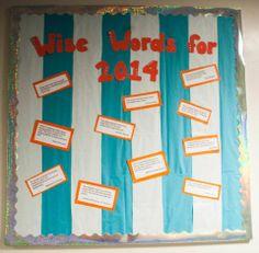 NEw Years bulletin board Ra Boards, Wreath Crafts, Easter Wreaths, Bulletin Boards, Ideas, Bulletin Board, Thoughts, Data Boards