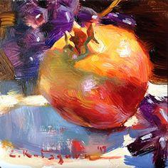 Black Grapes and Pomegranate by Elena Katsyura Oil ~ 6 in x 6 in