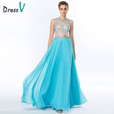 Cheap prom dresses, Buy Quality sexy prom dress directly from China dress with crystals Suppliers: Sexy Prom Dresses with Crystals Illusion Crew Neckline Sleeveless Sky Blue Chiffon Floor Length Beaded Sexy Prom Party Gowns Prom Party, Party Gowns, Teal Prom Dresses, Formal Dresses, Chiffon, Floor Length Dresses, Dress Collection, Evening Dresses, Sexy