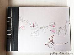 Papierspirale - Hochzeitsalbum Aquarell Magnolie in Japanischer Stabbindung German Men, Cards, Bookbinding, Magnolias, Stamps, Watercolor