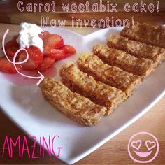 New invention alert!! I ran out of oats so made me cake with weetabix instead!! Gorgeous, really soft and moist!!  Crumble up 2 weetabix  Add grated carrot 3-4 tbs of stevia ...