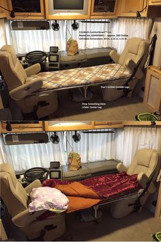 "Easy way to add a bed to a Class A Motorhome between the front seats. It's a $50 solution. Coleman ComfortSmart™ Cot Model No.2000009891 with Unfolded Dimensions: 69 in. x 25 in. x 15 in. You need a short cot to fit between the seats. 69"" length works great. Longer cots won't fit in between the seats when turned opposing each other."