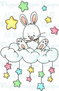 Bunny on a Cloud with Stars Above & Below Drawing For Kids, Art For Kids, Bunny Art, Digi Stamps, Cute Illustration, Baby Cards, Nursery Art, Coloring Pages, Kids Coloring