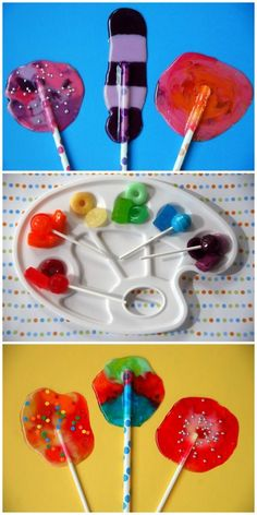 Homemade lollypops - place lifesavers, jolly ranchers, or other hard candy on foil, bake 350 degrees for 5-7 minutes and immediately insert stick.  What a variety of flavor combinations!  Crushed candies can be placed in cookie cutter shapes for even more variety.