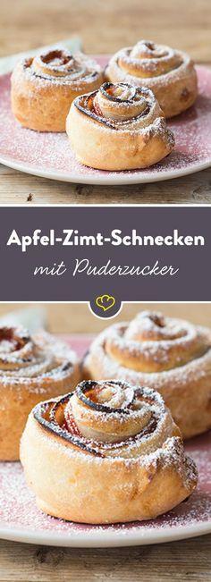 Frisch gebackene Zimtschnecken - kann es etwas Besseres geben? Ohja! Frisch gebackene Apfel-Zimt-Schnecken - lauwarm und zum Frühstück genascht.