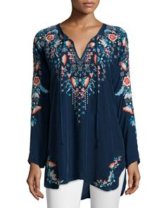 Julie Sunrise Embroidered Blouse, Size: X-SMALL (4), White - Johnny Was Collection