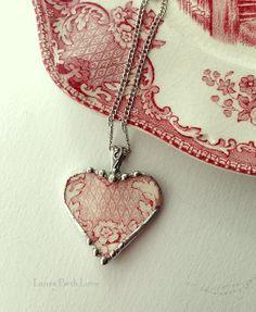 Broken china heart pendant necklace by dishfunctionldesigns, $50.00