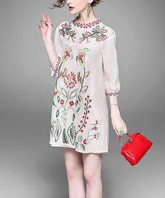 Look at this Alaroo Apricot Embroidered Shift Dress on #zulily today!