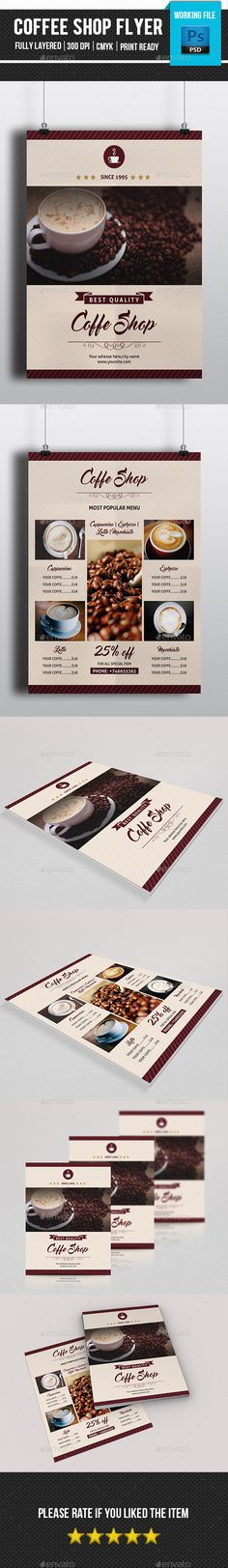 TriFold Food Menu Brochure Template Shops, Nice and Creative - coffee shop brochure template