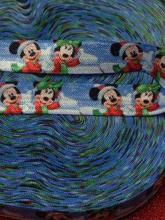 5/8  FOE Fold Over Elastic Disney Christmas by BellaandKateDesigns