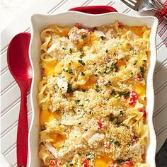 Classic Tuna Casserole gets an update with fresh peppers, cheddar cheese and panko topping! More of our best casserole recipes: http://www.bhg.com/recipes/casseroles/casserole-recipes/?socsrc=bhgpin060314tunacasserole&page=4
