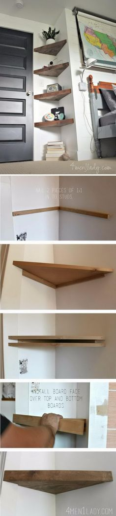 DIY Floating Corner Shelves. In de bureauhoek naast de keukentafel ??