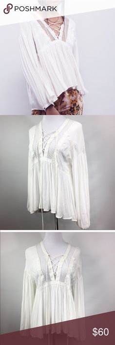 Free People 'Don't Let Go' Tunic NWOT. Has extra button still attached. Off-white. Free People Tops Tunics