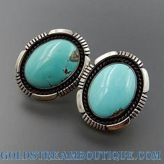 Native American EUGENE BELONE NAVAJO STERLING SILVER OVAL SKY COLORED TURQUOISE OVAL EARRINGS
