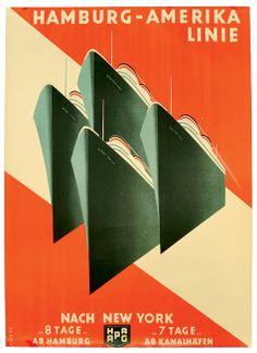 """Hamburg Amerika-Linie - nach New York """"Werbeplakat, auf Leinen aufgezogen, Hamburg um 1930, 59 x 82 cm, plakative Art-Deco Darstellung vierer Ozeankreuzer, signiert """"""""Koeke"""""""", selten"""""""