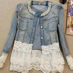 Add Lace to Jean Jacket