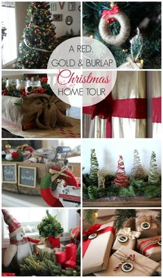 A Red, Gold, & Burlap Christmas Home Tour - Love Create Celebrate