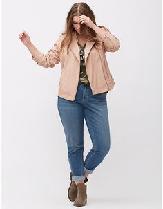 Faux leather jacket with buckles by Lane Bryant   Lane Bryant, SIZE 14/16, $64.17 USD