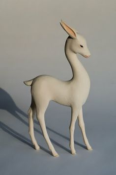 "Yoshimase Tsuchiya, ""Deer"", Woodcarving, polychrome, crystal, 2011.  Bambi, what are you thinking now?"