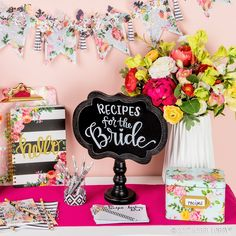 bridal shower decorations 85568461653085911 - DIY your way to bridal shower perfection! We turned ready-to-go office essentials—cards, storage boxes and more—into all-about-the-bride decor. Source by HobbyLobby Bridal Shower Signs, Bridal Shower Party, Bridal Shower Rustic, Bridal Shower Invitations, Recipe For Love Bridal Shower, Bridal Shower Registry, Summer Bridal Showers, Bridal Shower Centerpieces, Office Essentials