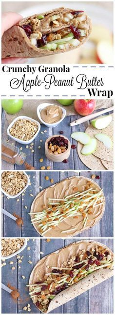Full of protein, whole grains and fruits, this wrap recipe is fast, easy and so wonderfully adaptable! Our crunchy Peanut Butter Sandwich Wraps are perfect for on-the-go meals and make-ahead lunches (you can even go nut-free for school lunches)! Change up your peanut butter and jelly routine with this new peanut butter recipe idea that's got a delicious combination of sweet, crunchy, chewy and creamy ingredients your whole family will love! {ad} | www.TwoHealthyKit...