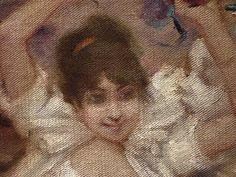WILLETTE Adolphe,1884 - Parce Domine - Detail 045 : Français : - Jeune femme en fête.  English: - Young woman enjoying the feast. - Montmartre -