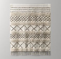 Thought to bring good luck to newlyweds, Moroccan wedding blankets – or handira – are traditionally woven and detailed with unique embellishments. Our version's simple geometry and muted palette have a strikingly modern appeal. Moroccan Bedroom, Moroccan Decor, Moroccan Lanterns, Moroccan Interiors, Moroccan Tiles, Luxury Nursery, Boho Nursery, Tidy Room, Moroccan Wedding Blanket