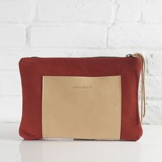 Asa cranberry red nubuck leather clutch // Shannon South // made in USA