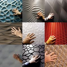 You know you want to: Go ahead, reach out and touch the walls. Interlam is a Virginia-based fabricator of three-dimensional, cut-to-order wall panels. Using thick sheets of various fiberboard pro… Textured Wall Panels, Decorative Wall Panels, 3d Wall Panels, 3d Wandplatten, Deco Zen, 3d Wall Tiles, Panel Systems, Wall Treatments, Wall Design