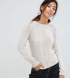 ASOS PETITE Sweater With Crew Neck And Panel Detail - Stone