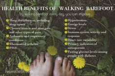 Earthing ~ Grounding ~ Health benefits of walking barefoot Health And Wellness, Mental Health, Health Tips, Health Benefits Of Walking, Earthing Grounding, Grounding Meditation, Forest Bathing, Walking Barefoot, Mind Body Soul