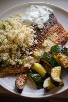 Pan-fried European whitefish with zucchini and couscous