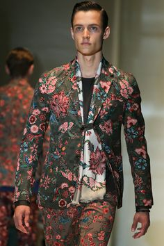 Gucci SS14 Menswear - Flora Scarf  See www.VeryFirstTo.com for more Gucci