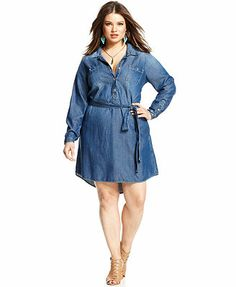 Lucky Brand Plus Size Long-Sleeve Belted Shirtdress