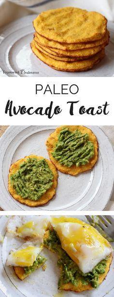 Paleo avocado toast, made with grain free flatbread More