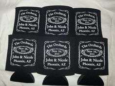 Jack Daniels Wedding Koozies Personalized lot of 75 custom can party favor - 1453 Stock Art Available