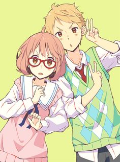 1boy 1girl blonde_hair bob_cut brown_eyes glasses kanbara_akihito kano_hito kuriyama_mirai kyoukai_no_kanata necktie pink_hair red-framed_glasses school_uniform short_hair sweater sweater_vest v