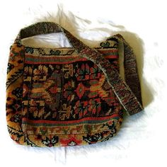"Bohemian Small Carpet Handbag Purse Antique Oriental Carpet (2 dif. kinds), W 12"" dr 15"" D 4"" H 12"", silk lining, 2 inr pockets, Fall Colors"