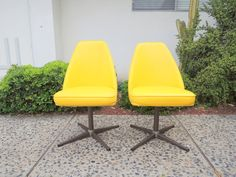 Pair of Mid Century Modern Sunshine Yellow Vinyl Swivel Chairs by HouseCandyLA, $175.00 Los Angeles