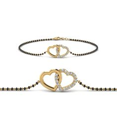 Shop our trendy bracelet mangalsutra for the women. If you don't like the traditional pendant style mangalsutra, bracelet mangalsutra is the best choice for you all lady out in USA. Mangalsutra Bracelet, Gold Bangle Bracelet, Gold Bangles, Heart Bracelet, Gold Mangalsutra, Mangalsutra Design, Gold Necklace, Ankle Bracelets, Gold Rings