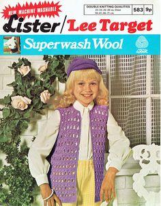 Lister 583 girls waistcoat vintage crochet pattern by Ellisadine, Vintage Crochet Patterns, Vintage Knitting, Knitting Patterns, Crochet Ideas, Double Knitting, Baby Knitting, Crochet Waistcoat, Baby Girl Purple, Knit Patterns