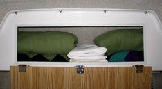 bedding storage in our Casita travel trailer Casita Camper, Casita Trailer, Scamp Trailer, Camper Trailers, Campers, Camper Storage, Pantry Storage, Bed Storage, Storage Spaces