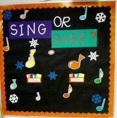 """Sing or Dare? Awesome game (and bulletin board idea) for elementary general music/choir. Student chooses either """"sing"""" or """"dare"""" and then choose an action card. """"Sing"""" cards have them sing a tonal pattern, sightsing a passage, etc. """"Dare"""" cards have them do silly things or answer a music question. Kids LOVE it, and the actions can be changed to cater to each classroom/student."""