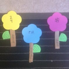 Music symbol matching game: flower is the symbol, stem is the name, leaf is the definition!