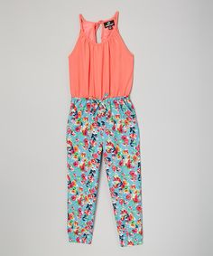 Love this Orange & Blue Floral Halter-Top Jumpsuit - Toddlers & Kids by Dollhouse on #zulily! #zulilyfinds