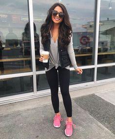 Gray tie shirt long sleeve black vest black pants black leggings pink sneakers