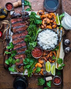 Date Night Surf & Turf. Recipe straight… Date Night Surf & Turf. Clean Eating, Healthy Eating, Surf And Turf, Good Food, Yummy Food, Cooking Recipes, Healthy Recipes, Steak Recipes, Food Platters
