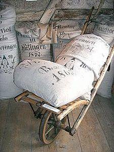 La Pouyette....: Antiques - German grain sacks - Old Linen - Interior - Kymberley Fraser