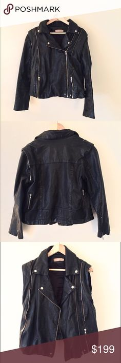 Leather moto jacket Velour by Nostalgia women's leather jacket. Arms zip off to be worn as a vest. In amazing condition. Real leather. Boyfriend style jacket. nostalgia Jackets & Coats Utility Jackets