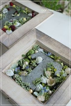 【生徒さんの作品】好きな文字をえらんだら・・・ Terrarium, Planting Flowers, Plants, Wedding Ideas, Decorating, Craft, Terrariums, Decor, Decoration